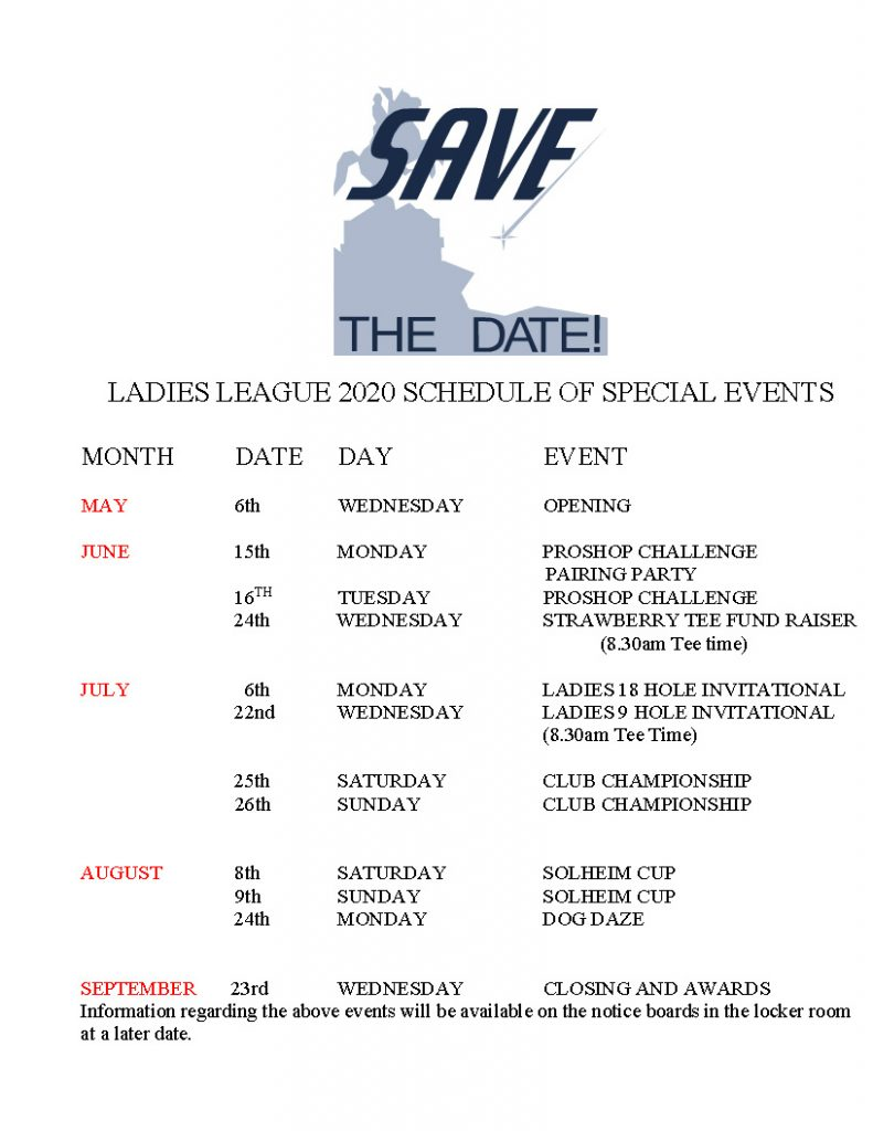 Ladies League Special Events