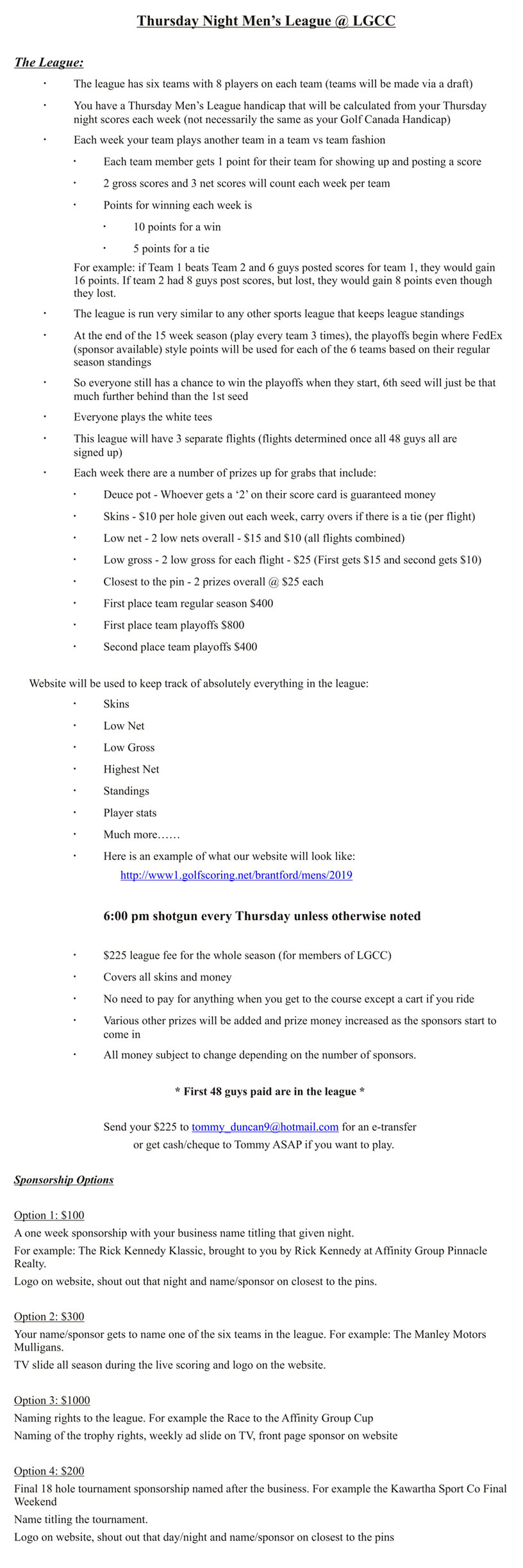Thursday Men's League